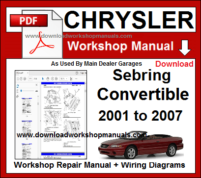 chrysler sebring convertible workshop repair manual