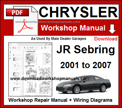 chrysler jr sebring workshop repair manual