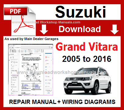 Suzuki Grand Vitara Service Repair Workshop Manual Download