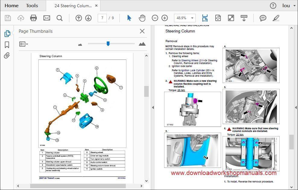Ford Transit 2007 To 2013 Workshop Repair Manual