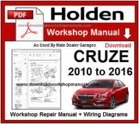 Holden Cruze Service Repair Workshop Manual Download