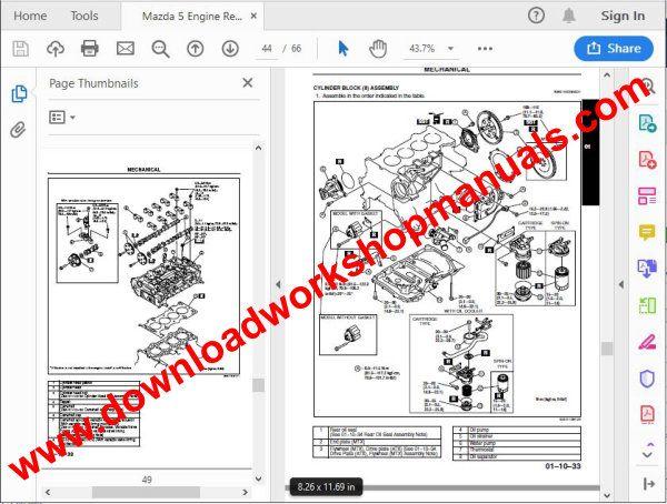 Mazda 5 Premacy Workshop Repair Manual 2004 To 2010