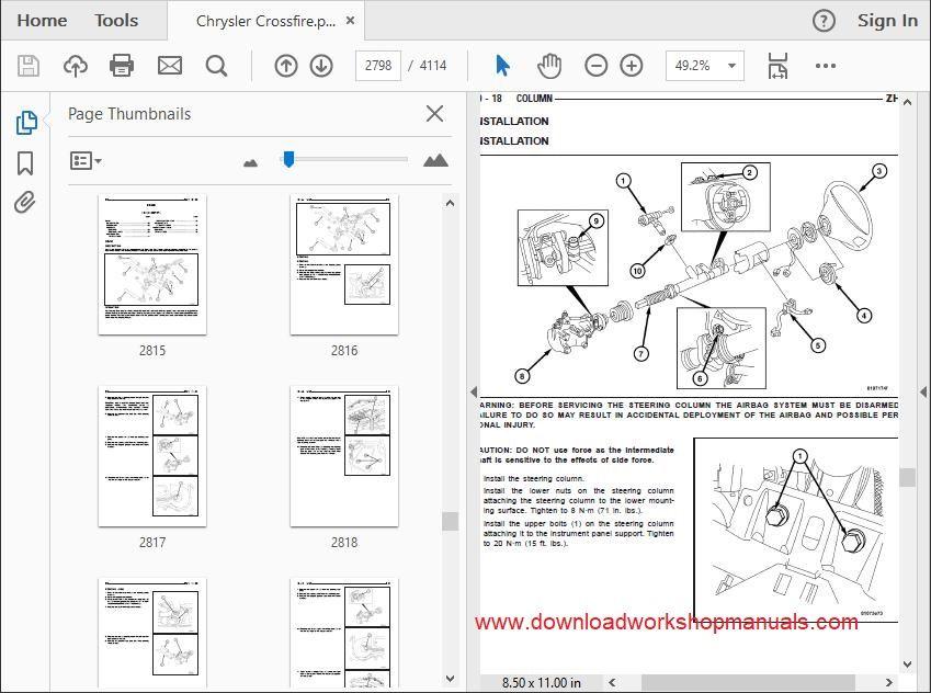 Chrysler Crossfire Workshop Service Repair Manual Download