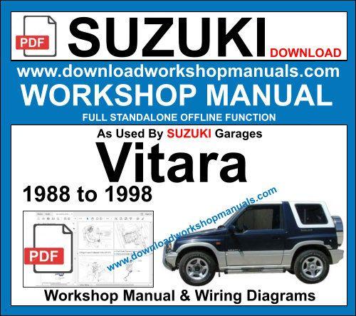 Suzuki Vitara 1988 To 1999 Workshop Repair Manual Download